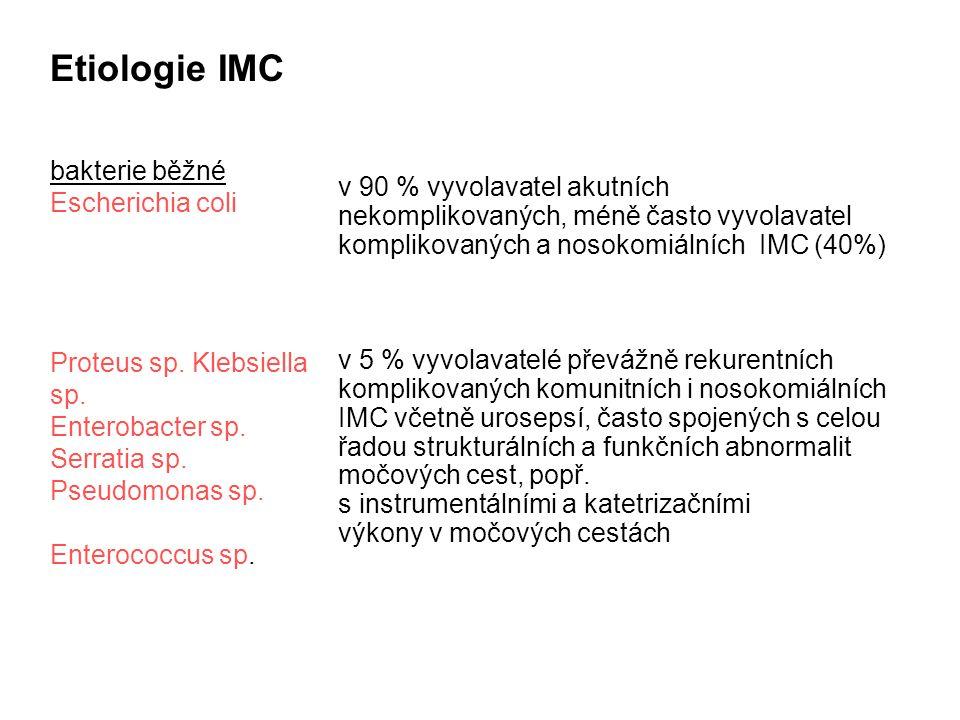 Etiologie IMC bakterie běžné Escherichia coli Proteus sp. Klebsiella sp. Enterobacter sp. Serratia sp. Pseudomonas sp. Enterococcus sp. v 90 % vyvolav