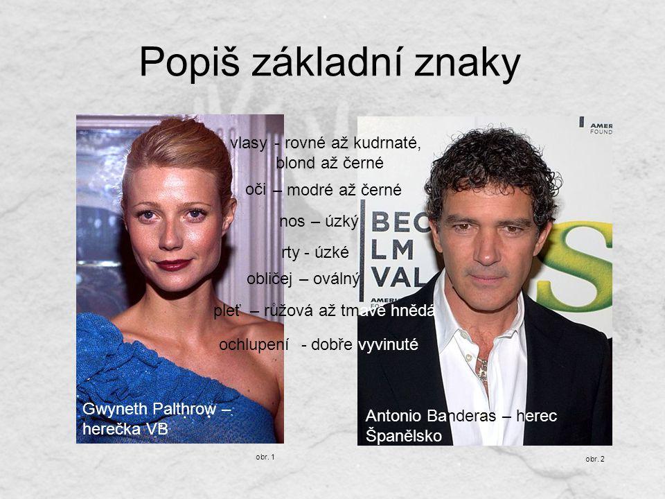 Popiš základní znaky Gwyneth Palthrow – herečka VB obr. 1 obr. 2 Antonio Banderas – herec Španělsko - rovné až kudrnaté, blond až černé – modré až čer