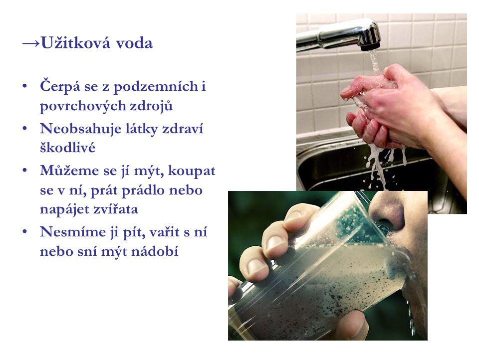 →Užitková voda Čerpá se z podzemních i povrchových zdrojů Neobsahuje látky zdraví škodlivé Můžeme se jí mýt, koupat se v ní, prát prádlo nebo napájet