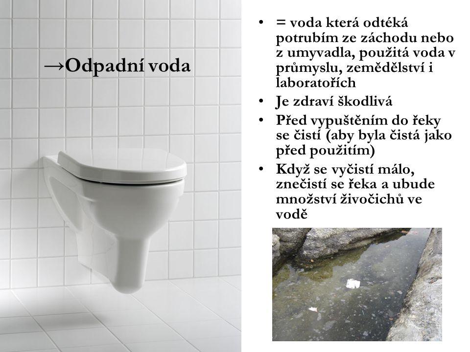 →Odpadní voda = voda která odtéká potrubím ze záchodu nebo z umyvadla, použitá voda v průmyslu, zemědělství i laboratořích Je zdraví škodlivá Před vyp
