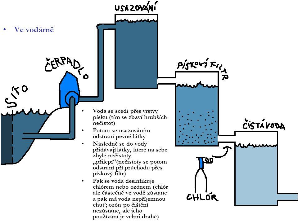 Ve vodárně Voda se scedí přes vrstvy písku (tím se zbaví hrubších nečistot) Potom se usazováním odstraní pevné látky Následně se do vody přidávají lát