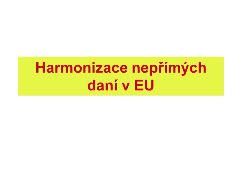 Daňová harmonizace daňová různost = daňová konkurence řešení: daňová koordinace (soft law), daňová harmonizace (určení daně, základ, sazby aj.) neochota členských států: fiskální nezávislost absolutně nezbytná pro každý stát v cílech EU daně nezmíněny daňová harmonizace = nutné zlo, aby fungoval vnitřní trh právní základ: čl.