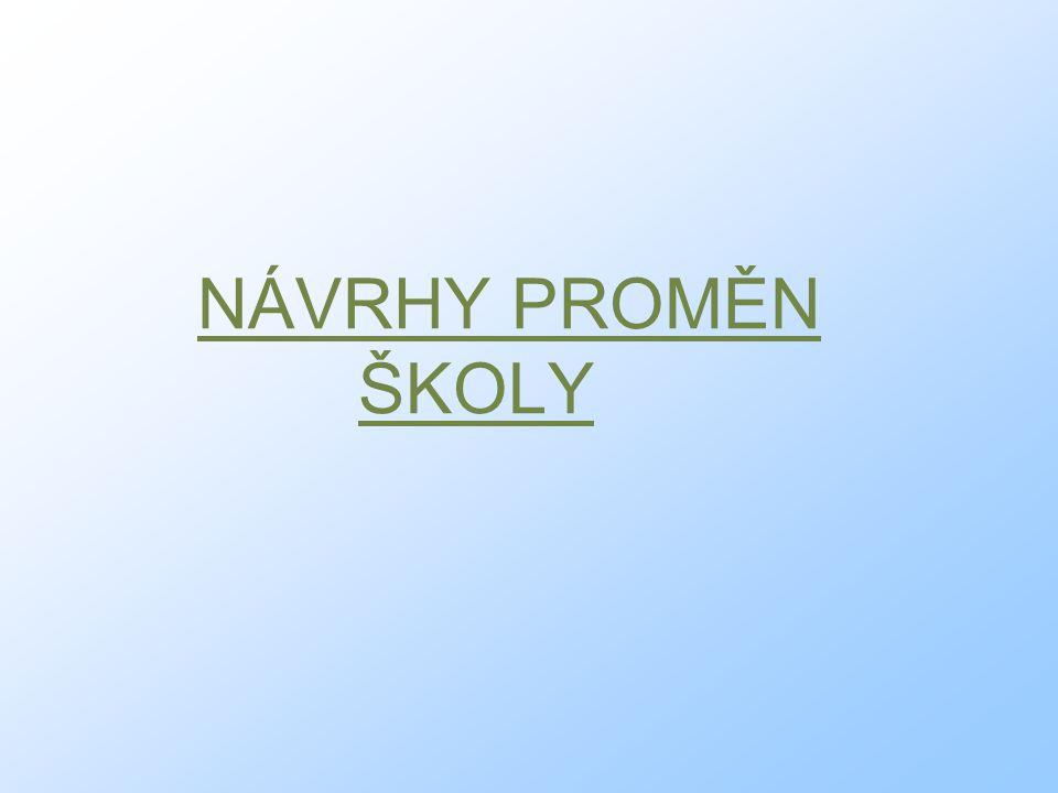 NÁVRHY PROMĚN ŠKOLY