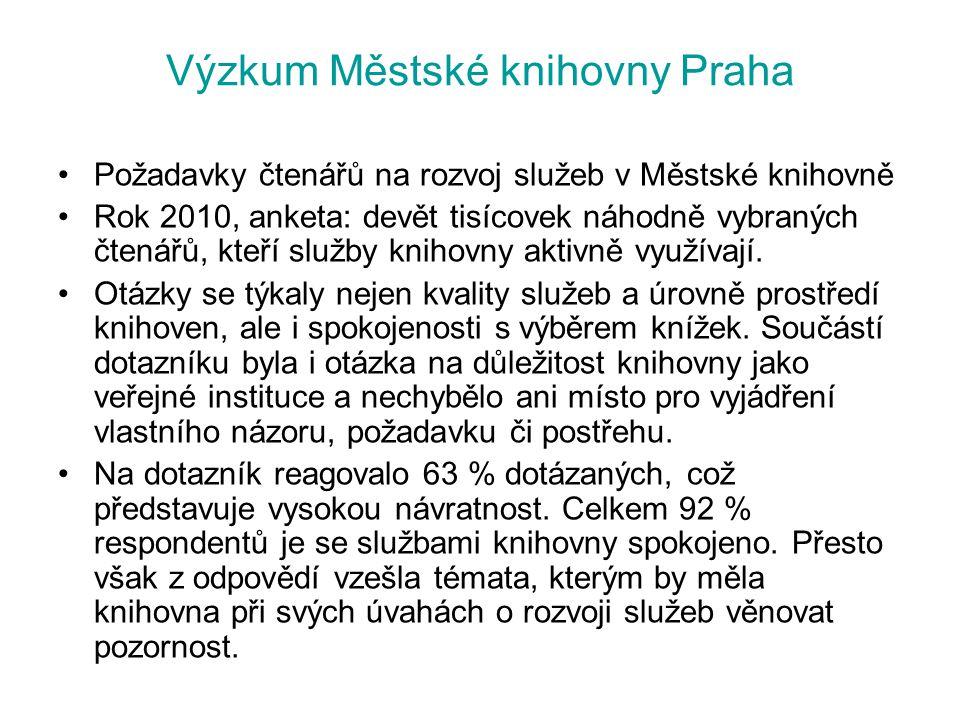 Výzkum Městské knihovny Praha Požadavky čtenářů na rozvoj služeb v Městské knihovně Rok 2010, anketa: devět tisícovek náhodně vybraných čtenářů, kteří