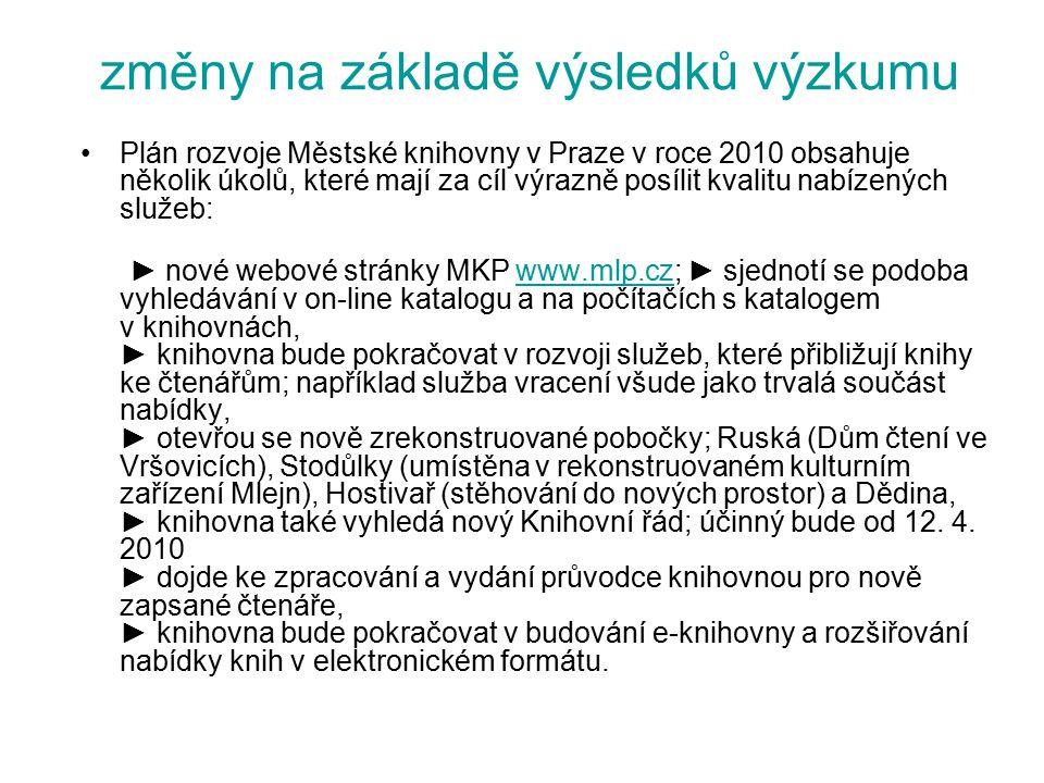 změny na základě výsledků výzkumu Plán rozvoje Městské knihovny v Praze v roce 2010 obsahuje několik úkolů, které mají za cíl výrazně posílit kvalitu