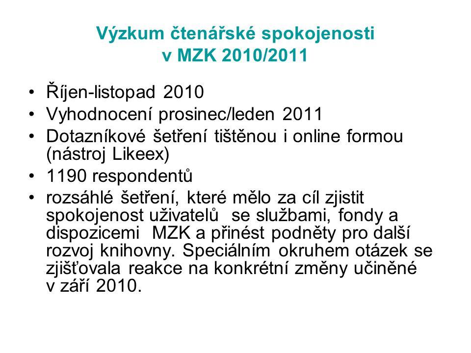 Výzkum čtenářské spokojenosti v MZK 2010/2011 Říjen-listopad 2010 Vyhodnocení prosinec/leden 2011 Dotazníkové šetření tištěnou i online formou (nástro