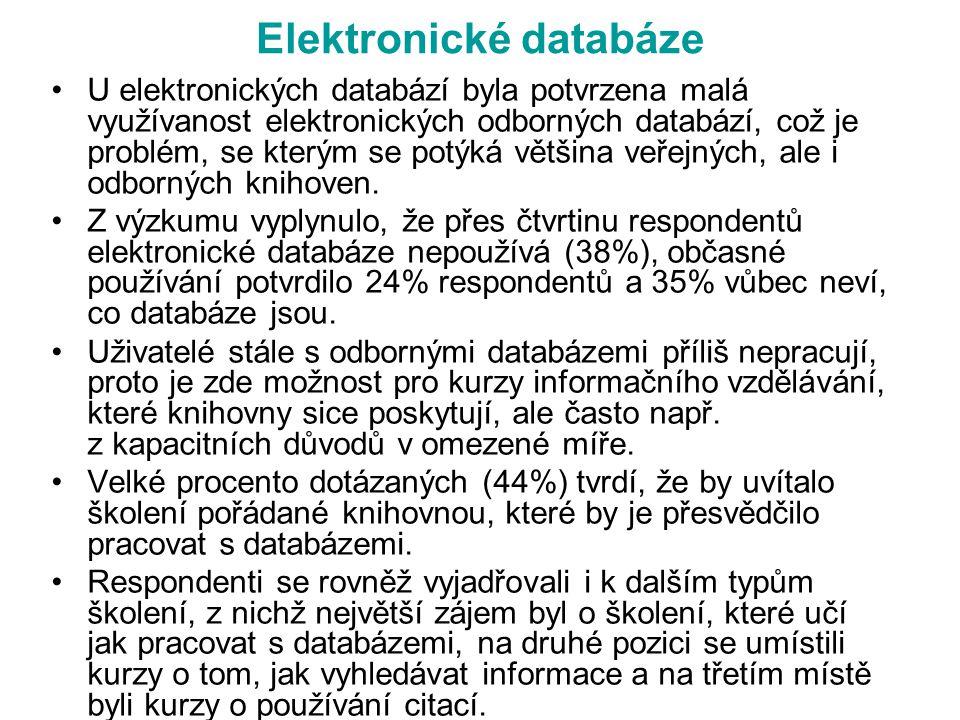 Elektronické databáze U elektronických databází byla potvrzena malá využívanost elektronických odborných databází, což je problém, se kterým se potýká