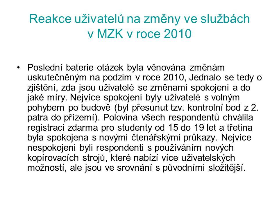 Reakce uživatelů na změny ve službách v MZK v roce 2010 Poslední baterie otázek byla věnována změnám uskutečněným na podzim v roce 2010, Jednalo se te