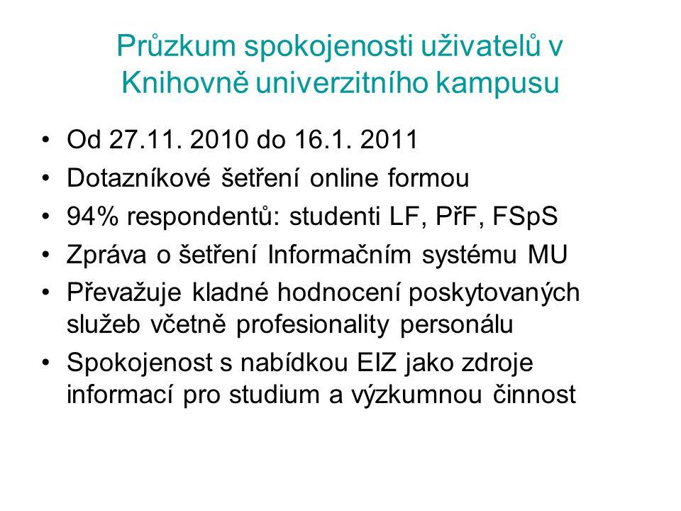 Průzkum spokojenosti uživatelů v Knihovně univerzitního kampusu Od 27.11. 2010 do 16.1. 2011 Dotazníkové šetření online formou 94% respondentů: studen