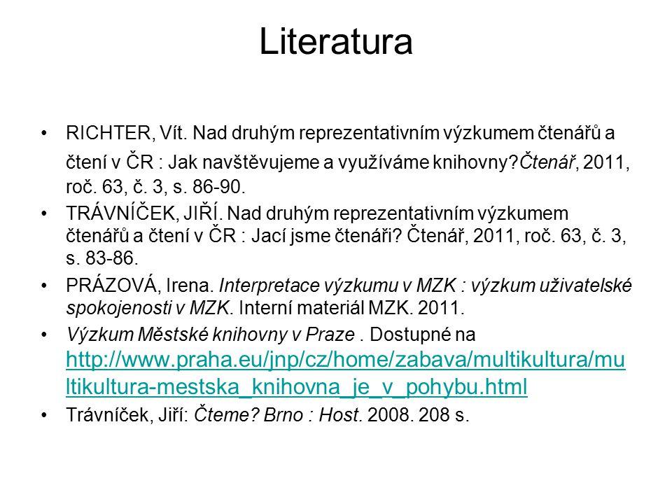 Literatura RICHTER, Vít. Nad druhým reprezentativním výzkumem čtenářů a čtení v ČR : Jak navštěvujeme a využíváme knihovny?Čtenář, 2011, roč. 63, č. 3