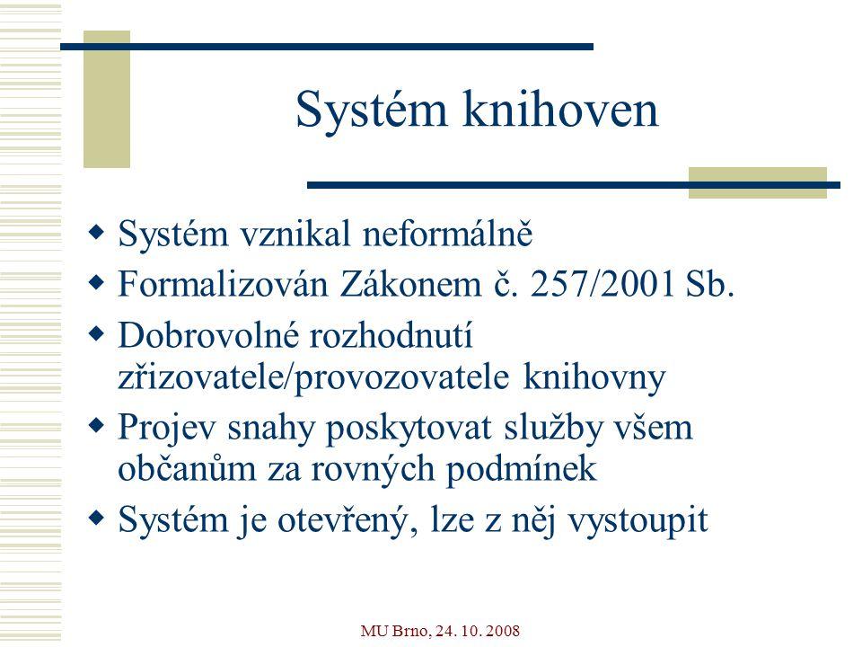 MU Brno, 24. 10. 2008 Systém knihoven  Systém vznikal neformálně  Formalizován Zákonem č.