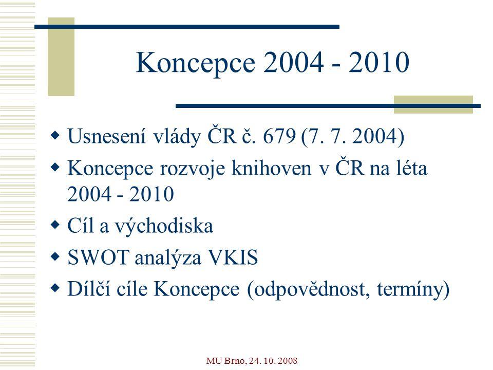 MU Brno, 24. 10. 2008 Koncepce 2004 - 2010  Usnesení vlády ČR č.