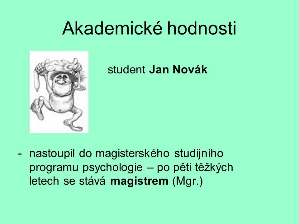 Akademické hodnosti student Jan Novák -nastoupil do magisterského studijního programu psychologie – po pěti těžkých letech se stává magistrem (Mgr.)