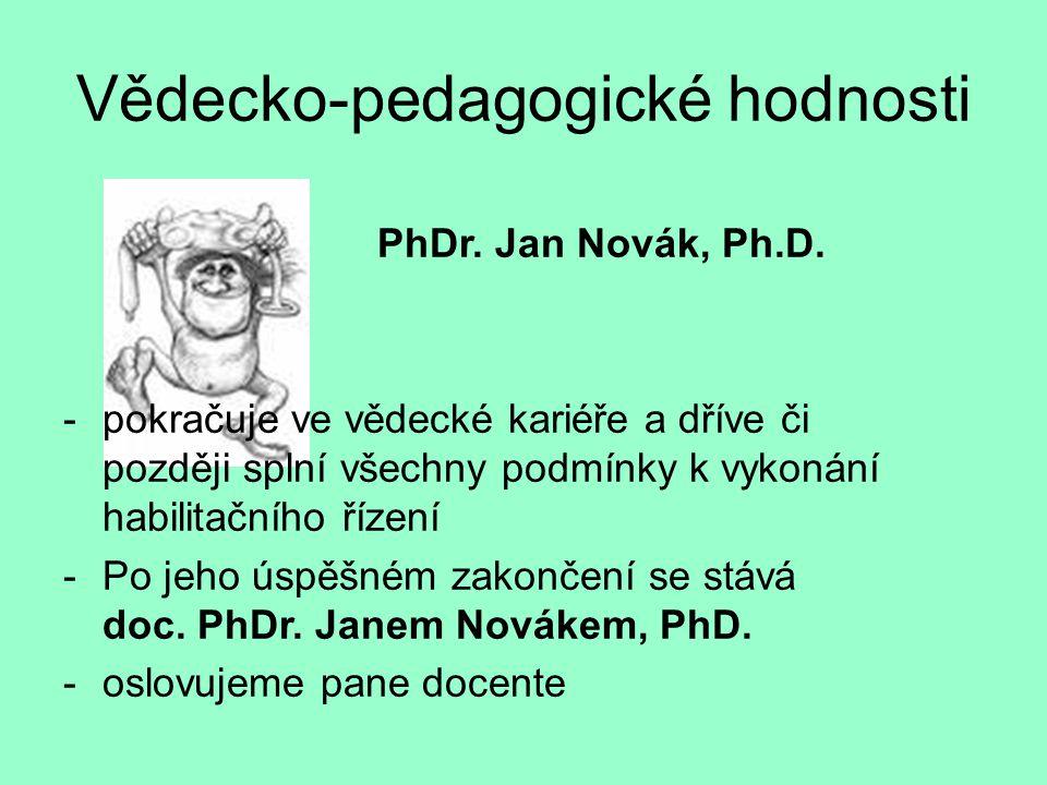 Vědecko-pedagogické hodnosti PhDr. Jan Novák, Ph.D. -pokračuje ve vědecké kariéře a dříve či později splní všechny podmínky k vykonání habilitačního ř