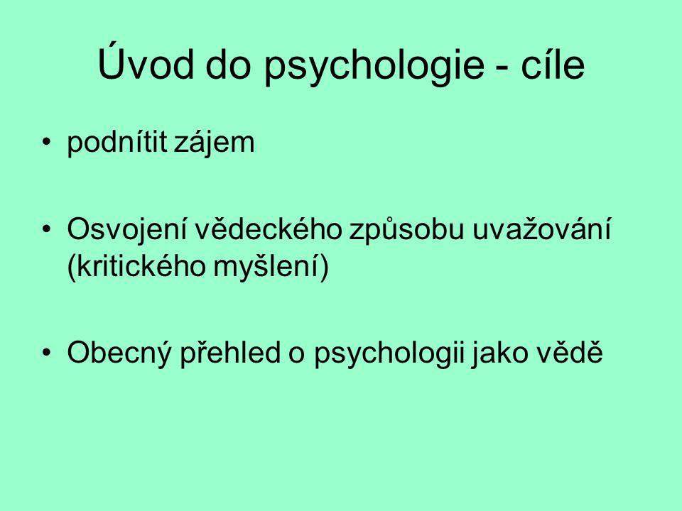 Úvod do psychologie - cíle podnítit zájem Osvojení vědeckého způsobu uvažování (kritického myšlení) Obecný přehled o psychologii jako vědě
