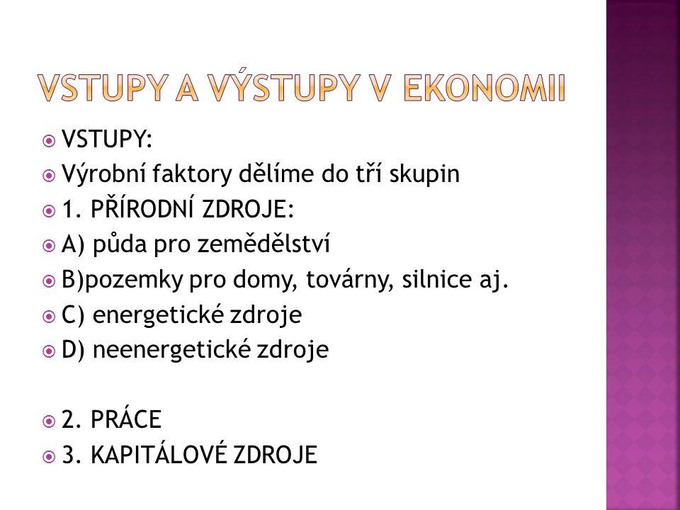  VSTUPY:  Výrobní faktory dělíme do tří skupin  1.