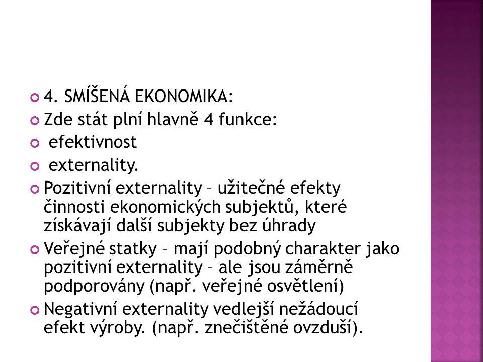 4.SMÍŠENÁ EKONOMIKA: Zde stát plní hlavně 4 funkce: efektivnost externality.