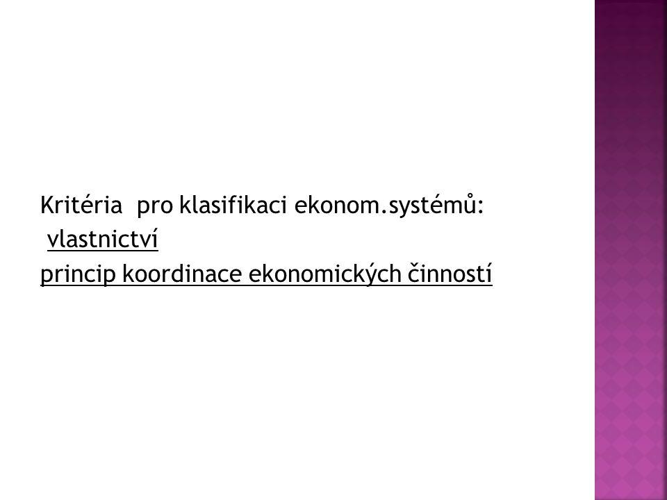 Kritéria pro klasifikaci ekonom.systémů: vlastnictví princip koordinace ekonomických činností