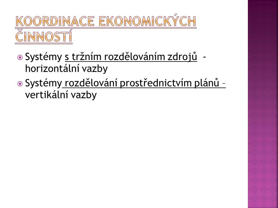  Systémy s tržním rozdělováním zdrojů - horizontální vazby  Systémy rozdělování prostřednictvím plánů – vertikální vazby