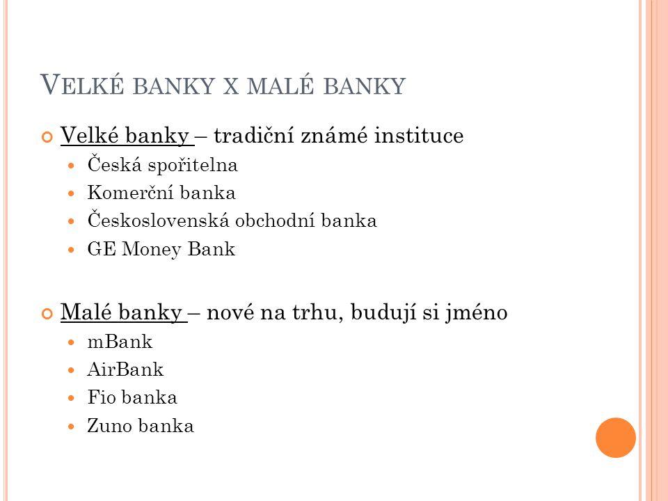 V ELKÉ BANKY X MALÉ BANKY Velké banky – tradiční známé instituce Česká spořitelna Komerční banka Československá obchodní banka GE Money Bank Malé bank