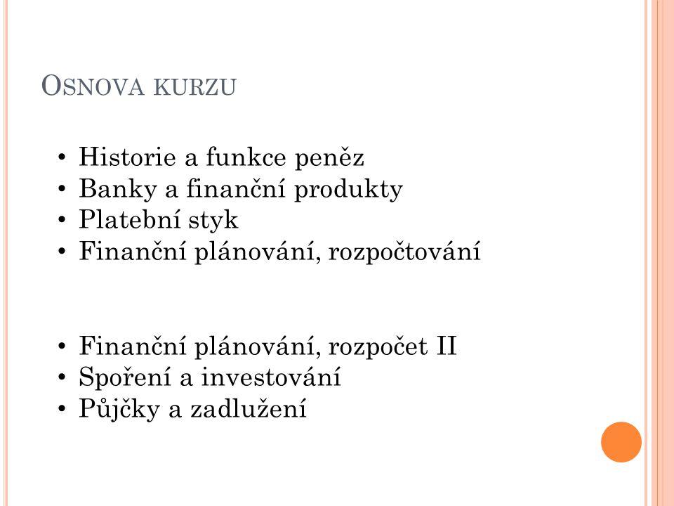 O SNOVA KURZU Historie a funkce peněz Banky a finanční produkty Platební styk Finanční plánování, rozpočtování Finanční plánování, rozpočet II Spoření