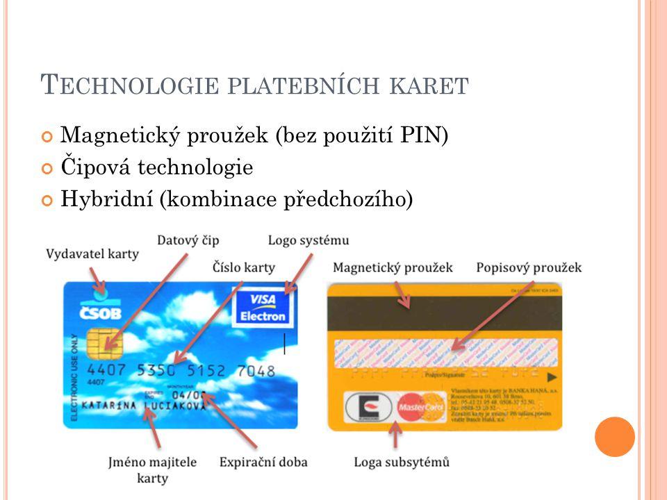 T ECHNOLOGIE PLATEBNÍCH KARET Magnetický proužek (bez použití PIN) Čipová technologie Hybridní (kombinace předchozího)