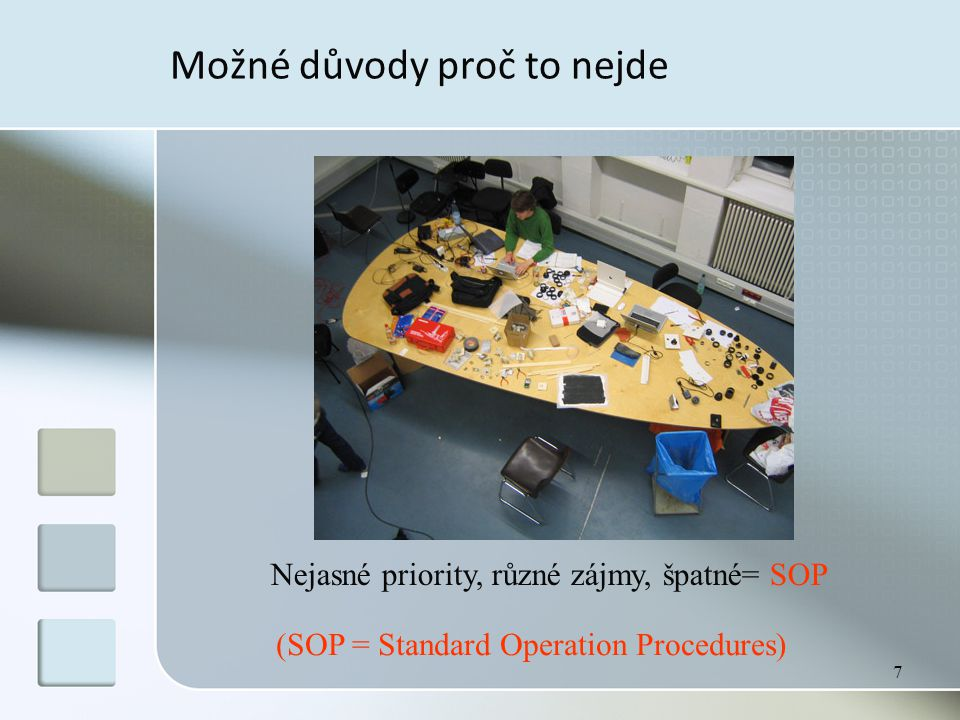 7 Možné důvody proč to nejde Nejasné priority, různé zájmy, špatné= SOP (SOP = Standard Operation Procedures)