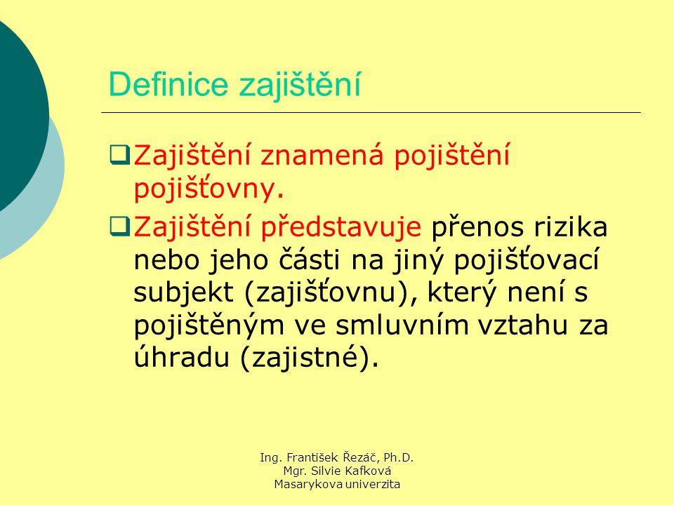 Ing. František Řezáč, Ph.D. Mgr. Silvie Kafková Masarykova univerzita Definice zajištění  Zajištění znamená pojištění pojišťovny.  Zajištění předsta