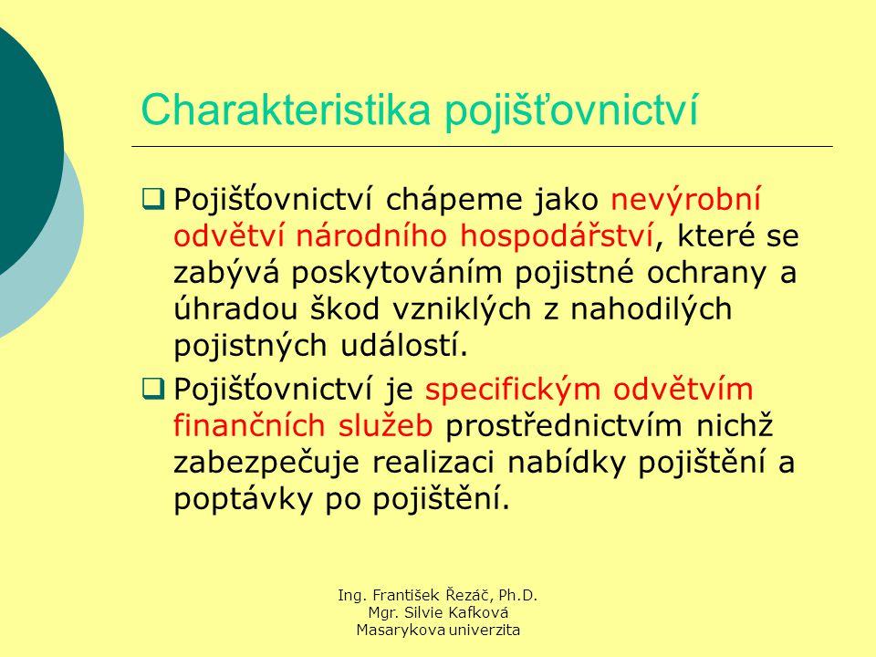 Ing. František Řezáč, Ph.D. Mgr. Silvie Kafková Masarykova univerzita Charakteristika pojišťovnictví  Pojišťovnictví chápeme jako nevýrobní odvětví n