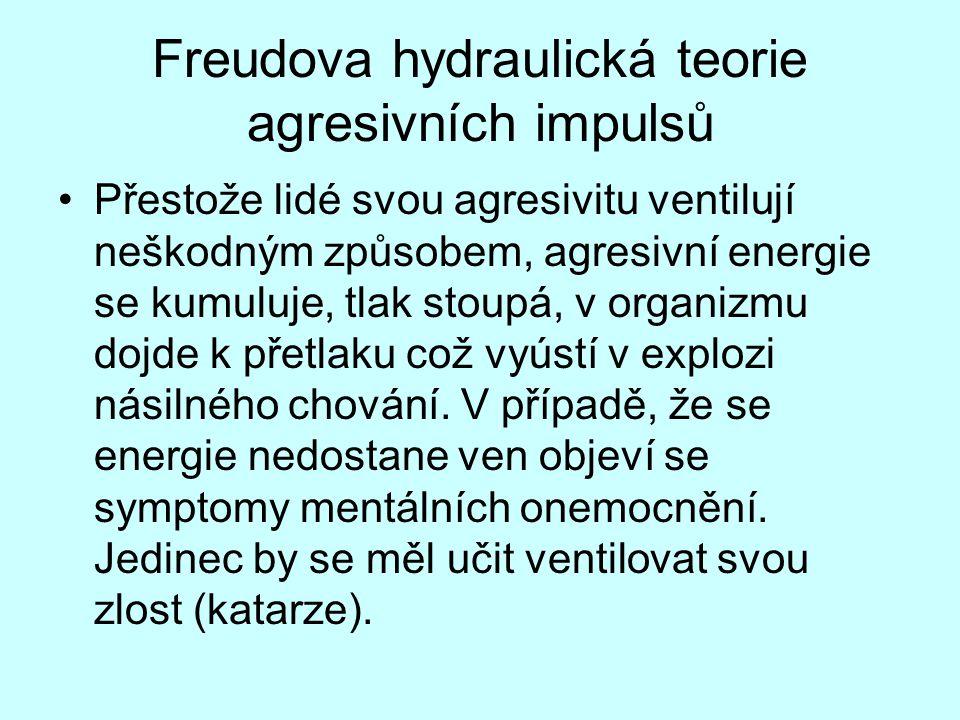 Freudova hydraulická teorie agresivních impulsů Přestože lidé svou agresivitu ventilují neškodným způsobem, agresivní energie se kumuluje, tlak stoupá, v organizmu dojde k přetlaku což vyústí v explozi násilného chování.