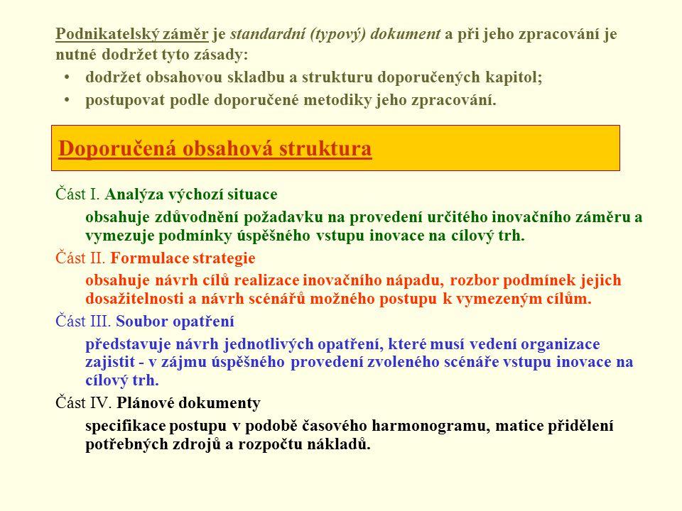 Doporučená obsahová struktura Část I.