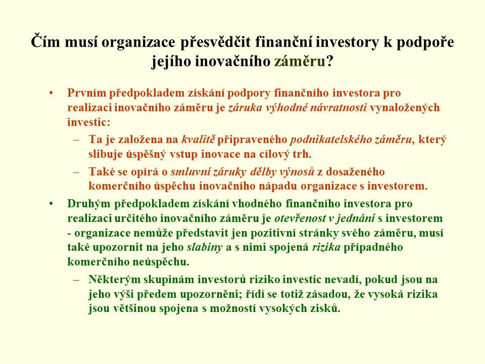 Čím musí organizace přesvědčit finanční investory k podpoře jejího inovačního záměru.