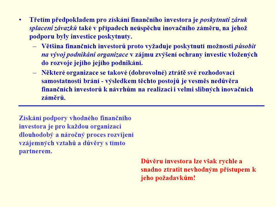 Třetím předpokladem pro získání finančního investora je poskytnutí záruk splacení závazků také v případech neúspěchu inovačního záměru, na jehož podporu byly investice poskytnuty.