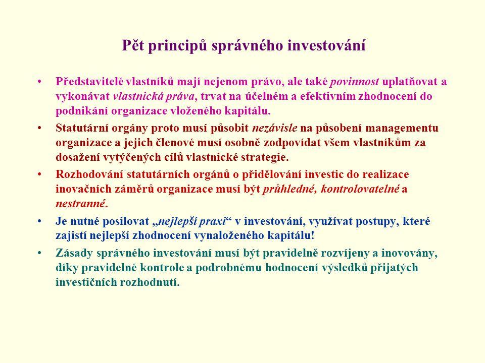 Pět principů správného investování Představitelé vlastníků mají nejenom právo, ale také povinnost uplatňovat a vykonávat vlastnická práva, trvat na účelném a efektivním zhodnocení do podnikání organizace vloženého kapitálu.
