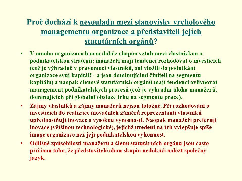 Proč dochází k nesouladu mezi stanovisky vrcholového managementu organizace a představiteli jejích statutárních orgánů.