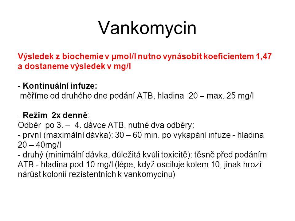 Vankomycin Výsledek z biochemie v µmol/l nutno vynásobit koeficientem 1,47 a dostaneme výsledek v mg/l - Kontinuální infuze: měříme od druhého dne podání ATB, hladina 20 – max.