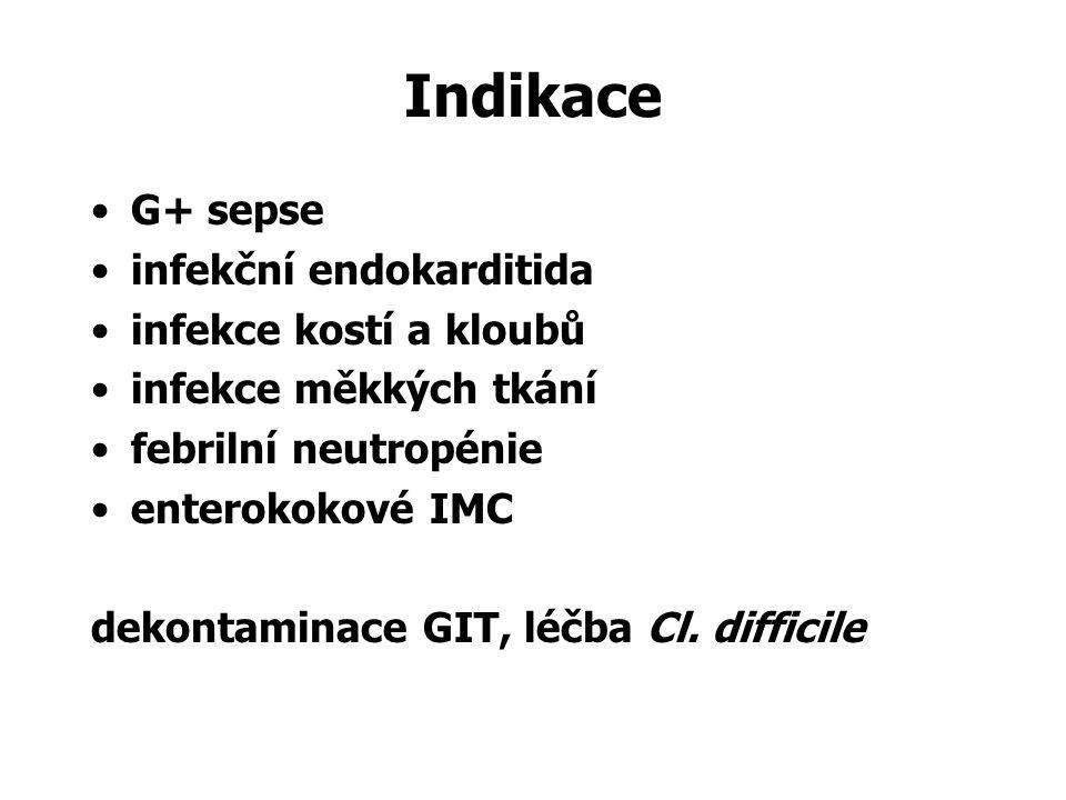 Indikace G+ sepse infekční endokarditida infekce kostí a kloubů infekce měkkých tkání febrilní neutropénie enterokokové IMC dekontaminace GIT, léčba Cl.