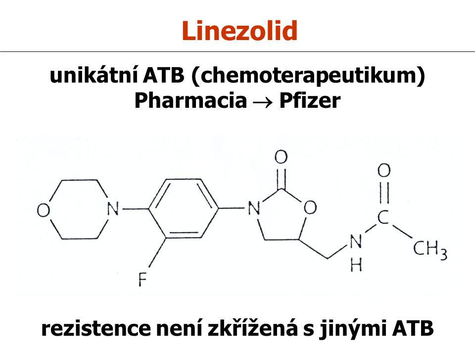 Linezolid unikátní ATB (chemoterapeutikum) Pharmacia  Pfizer rezistence není zkřížená s jinými ATB