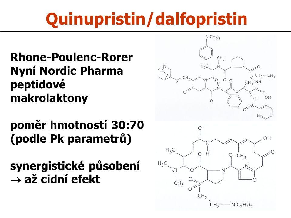Quinupristin/dalfopristin Rhone-Poulenc-Rorer Nyní Nordic Pharma peptidové makrolaktony poměr hmotností 30:70 (podle Pk parametrů) synergistické působení  až cidní efekt