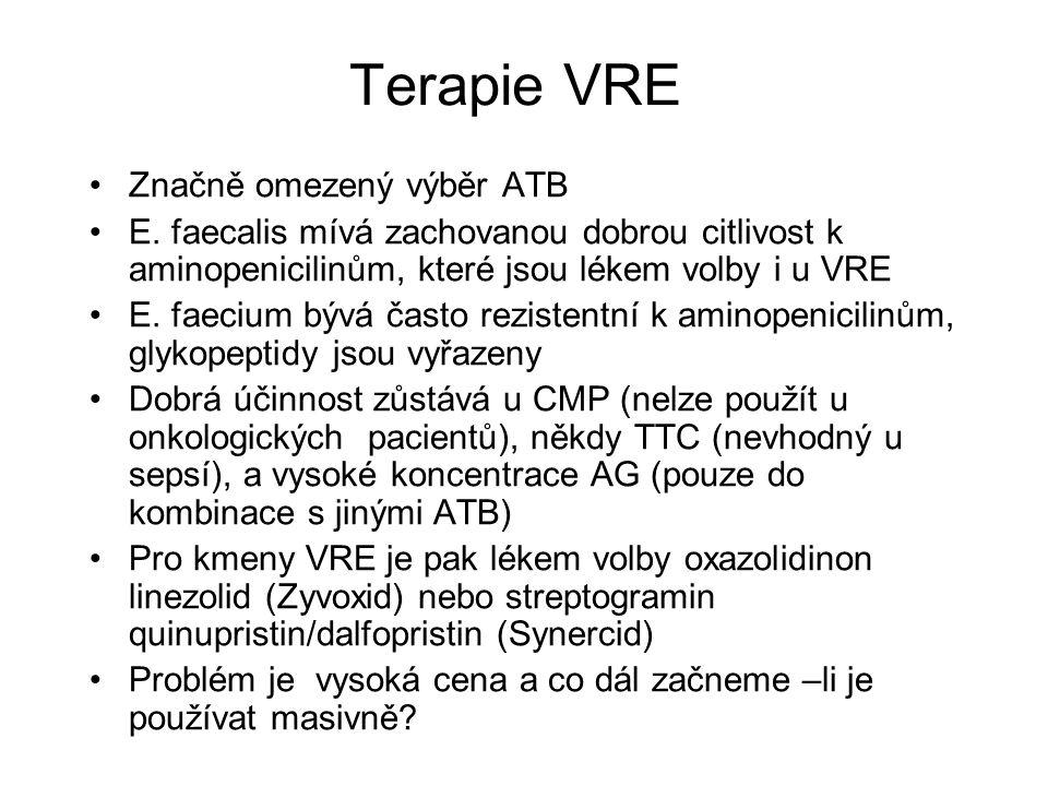 Terapie VRE Značně omezený výběr ATB E.