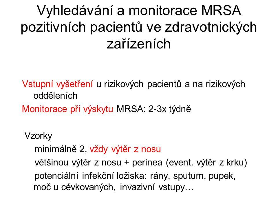 Vyhledávání a monitorace MRSA pozitivních pacientů ve zdravotnických zařízeních Vstupní vyšetření u rizikových pacientů a na rizikových odděleních Monitorace při výskytu MRSA: 2-3x týdně Vzorky minimálně 2, vždy výtěr z nosu většinou výtěr z nosu + perinea (event.