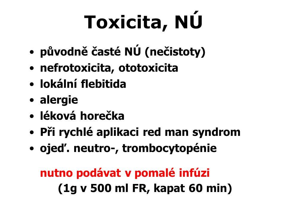 Toxicita, NÚ původně časté NÚ (nečistoty) nefrotoxicita, ototoxicita lokální flebitida alergie léková horečka Při rychlé aplikaci red man syndrom ojeď.