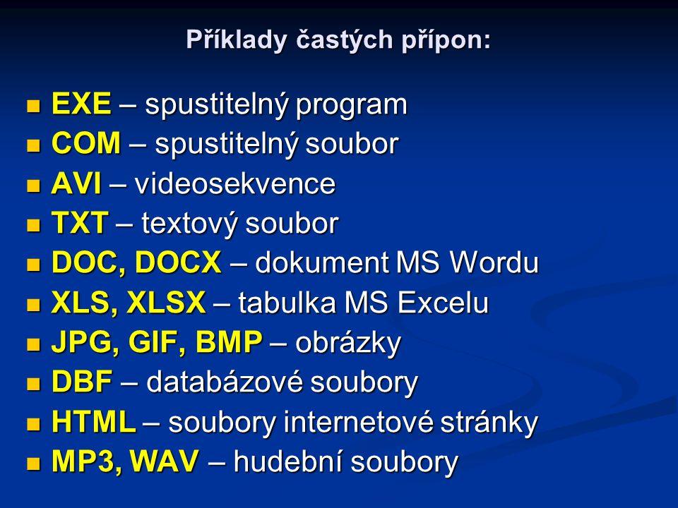 Příklady častých přípon: EXE – spustitelný program EXE – spustitelný program COM – spustitelný soubor COM – spustitelný soubor AVI – videosekvence AVI