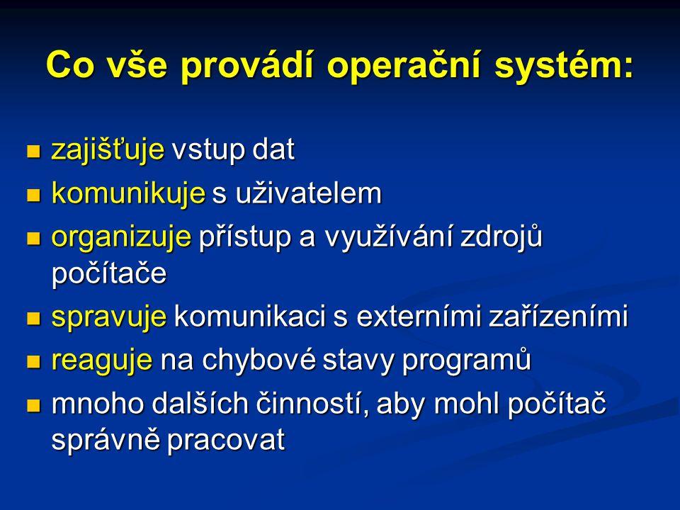 Co vše provádí operační systém: zajišťuje vstup dat zajišťuje vstup dat komunikuje s uživatelem komunikuje s uživatelem organizuje přístup a využívání zdrojů počítače organizuje přístup a využívání zdrojů počítače spravuje komunikaci s externími zařízeními spravuje komunikaci s externími zařízeními reaguje na chybové stavy programů reaguje na chybové stavy programů mnoho dalších činností, aby mohl počítač správně pracovat mnoho dalších činností, aby mohl počítač správně pracovat