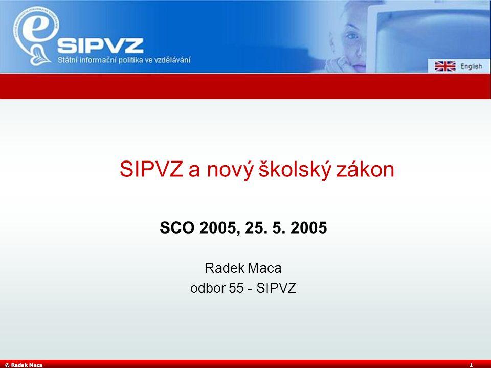 © Radek Maca1 SCO 2005, 25. 5. 2005 Radek Maca odbor 55 - SIPVZ SIPVZ a nový školský zákon