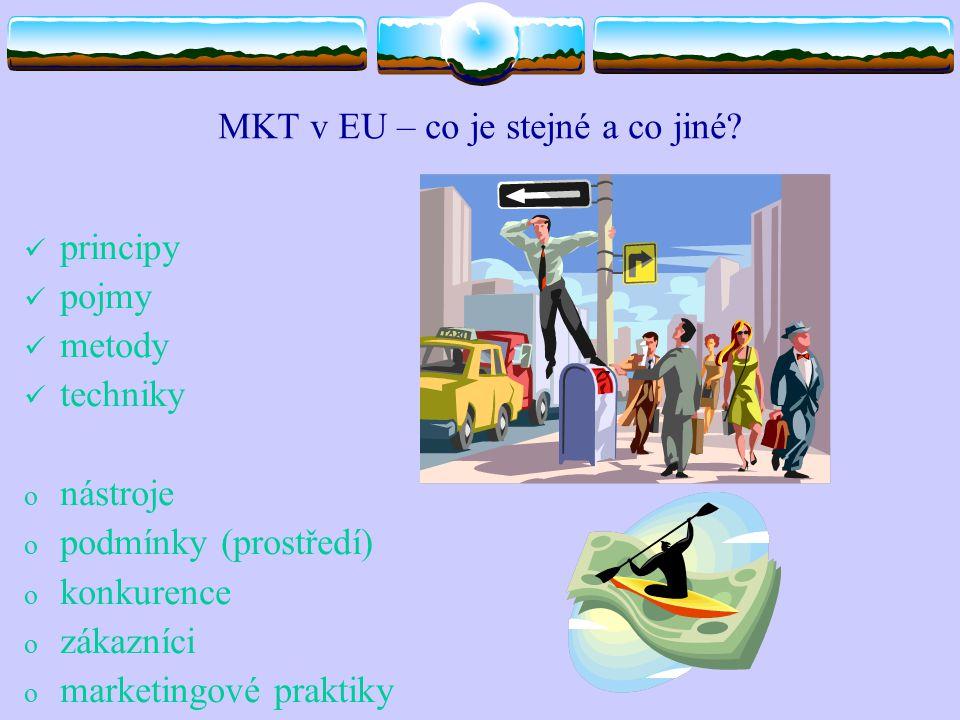 MKT v EU – co je stejné a co jiné? principy pojmy metody techniky o nástroje o podmínky (prostředí) o konkurence o zákazníci o marketingové praktiky