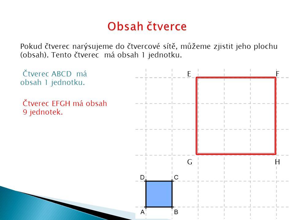 Pokud čtverec narýsujeme do čtvercové sítě, můžeme zjistit jeho plochu (obsah). Tento čtverec má obsah 1 jednotku. Čtverec ABCD má obsah 1 jednotku. E