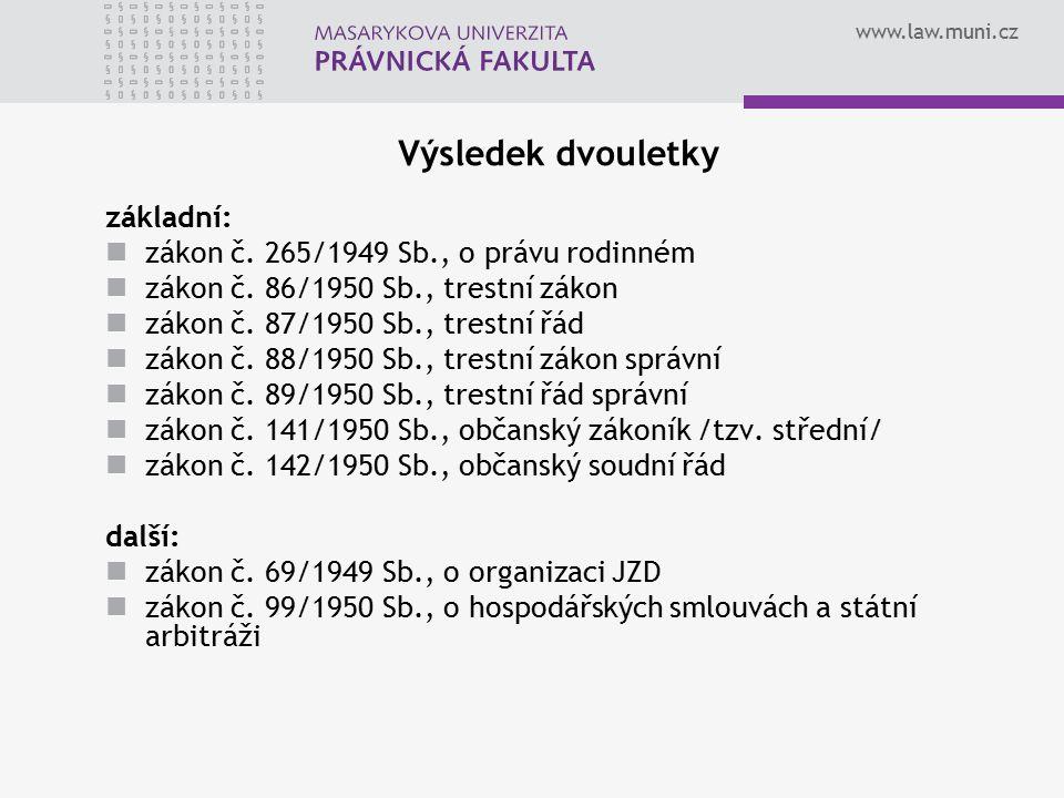 www.law.muni.cz Výsledek dvouletky základní: zákon č. 265/1949 Sb., o právu rodinném zákon č. 86/1950 Sb., trestní zákon zákon č. 87/1950 Sb., trestní