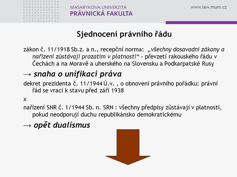 """www.law.muni.cz Sjednocení právního řádu zákon č. 11/1918 Sb.z. a n., recepční norma: """"všechny dosavadní zákony a nařízení zůstávají prozatím v platno"""