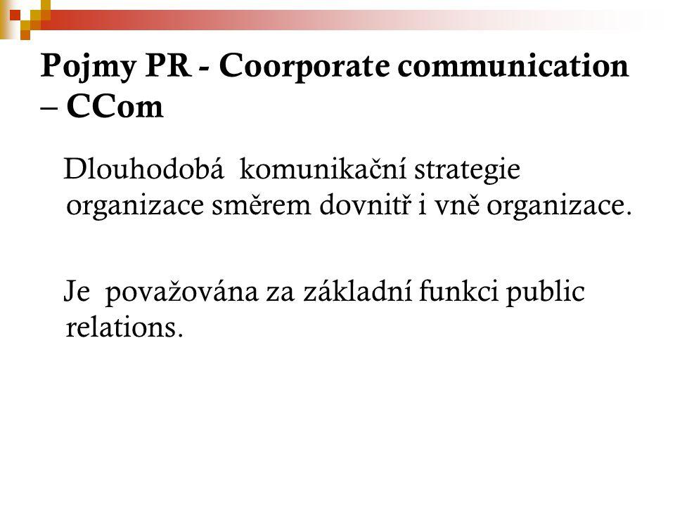 Pojmy PR - Coorporate communication – CCom Dlouhodobá komunika č ní strategie organizace sm ě rem dovnit ř i vn ě organizace.